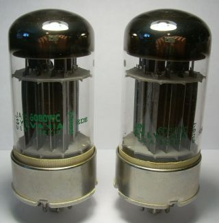 Sylvania Pair Matched Jan 6080 6as7 Vacuum Tubes 1979 Very Strong