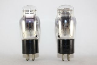 Matched Pair Rca Type 71a Power Tubes Engraved Base Test Strong 88 Nos