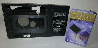 Vhs - C To Vhs Video Cassette Adapter And Vhs - C Camcorder Video Cassette 30/90min