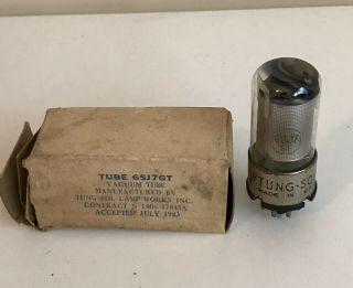 Vintage Tung - Sol 6sj7gt Black Plate Vacuum Tube July 1943 Very Strong Nos