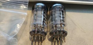 Ge 2ax7 Vacuum Tubes Tall 3 Rib Plates With Horseshoe Getters