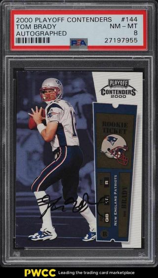 2000 Playoff Contenders Tom Brady Rookie Rc Auto 144 Psa 8 Nm - Mt