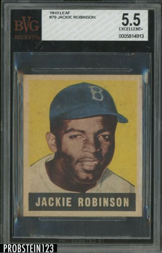 1948 Leaf 79 Jackie Robinson Brooklyn Dodgers Rc Rookie Hof Bvg 5.  5 Ex,