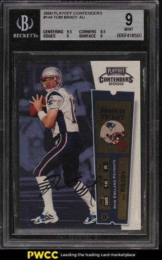 2000 Playoff Contenders Tom Brady Rookie Rc Auto 144 Bgs 9
