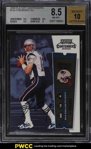2000 Playoff Contenders Tom Brady Rookie Rc Auto 144 Bgs 8.  5 Nm - Mt,
