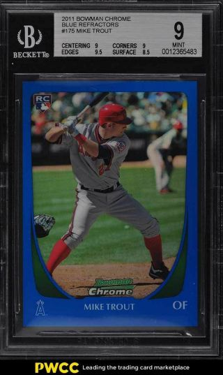 2011 Bowman Chrome Blue Refractor Mike Trout Rookie Rc /199 101 Bgs 9