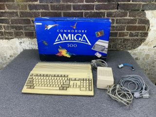 Commodore Amiga 500 Computer With Power Supply & Cables