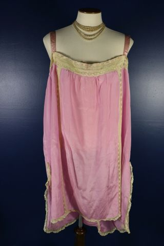 Antique 1920s Rose Pink Silk Step In Teddie Chemise Lingerie Lace Trim