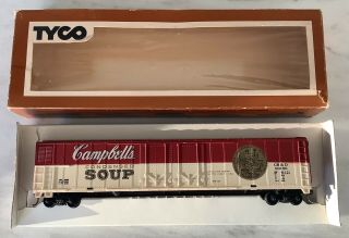 Vintage Tyco Ho Scale Campbell's Soup Box Car,  Kadees,  Sprung Trucks
