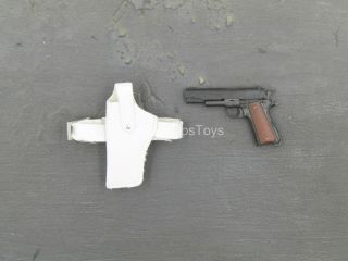 1/6 Scale Toy Ghost - 1911 Pistol W/white Drop Leg Holster (left)