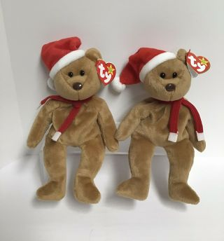 Ty Beanie Baby 1997 Holiday Teddy Bear (2) Both Are Rare