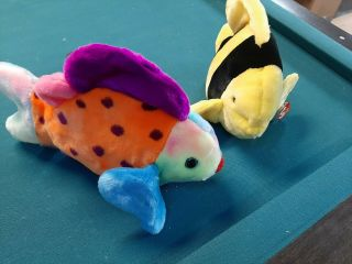 Beanie Buddy Bubbles And Lips The Fish Both With All Tags Its A Little Fishy