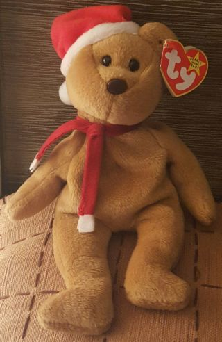 Ty Beanie Baby 1997 Holiday Teddy Bear (1996) - Style 4200 - Rare P.  V.  C.  Pellets