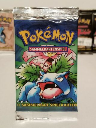 Pokemon German 1st Edition Base Set Booster Pack,  Venusaur Art,  Factory