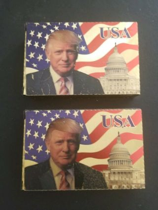 2 Donald Trump Gold Foil Waterproof Plastic Playing Cards Usa