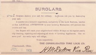 U.  S.  The Consolidated Time Lock Co.  1905 Burglars Message Postal Card Ref 39335
