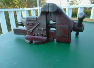 "Antique Red Arrow No.  30 Bench Anvil Vise 3 "" Jaws Opens 3 1/2 "" Cleaned &"